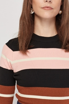 Multi Stripe Rib Knit Top