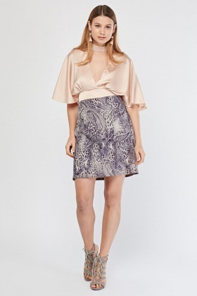 Contrasted Animal Printed Mini Skirt