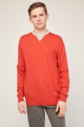 Contrasted Neck Panel Sweater
