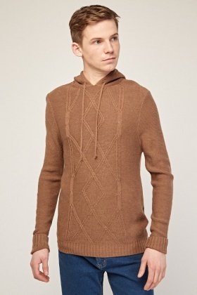 Diamond Knit Hooded Jumper
