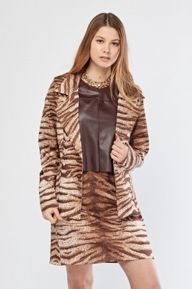 Double Breasted Tiger Print Blazer