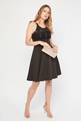 Lace Insert Sleeveless Skater Dress