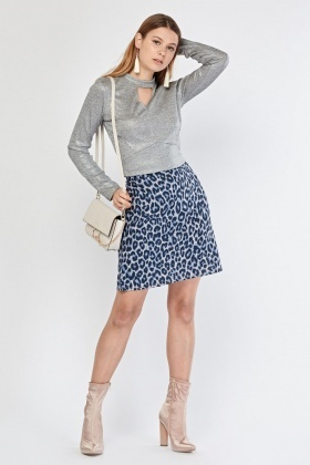 Leopard Printed A-Line Skirt