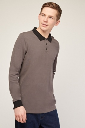 Long Sleeve Grey Polo Top