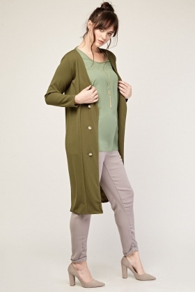 Military Button Front Duster Coat
