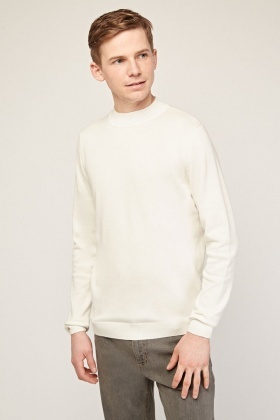 Off White Ribbed Trim Thin Jumper