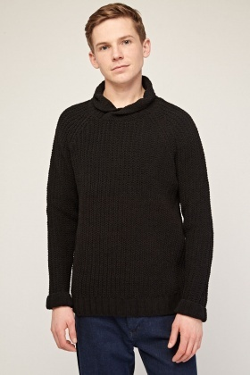 Rolled Neck Knitted Jumper