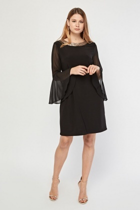 Sequin Embellished Bell Sleeve Dress
