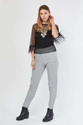 Textured Mono Printed Trousers