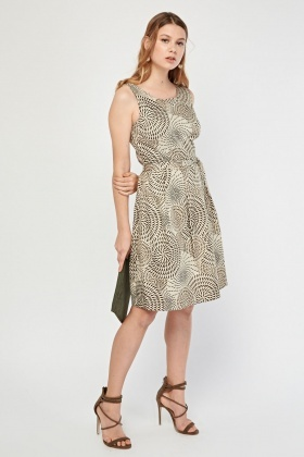 Zalij Print Belted Tunic Dress