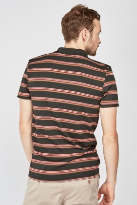 Zip Up Striped Polo Shirt