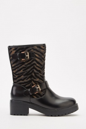 Animal Print Contrasted Faux Leather Boots