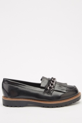 Chain Tassel Front Slip-On Loafers