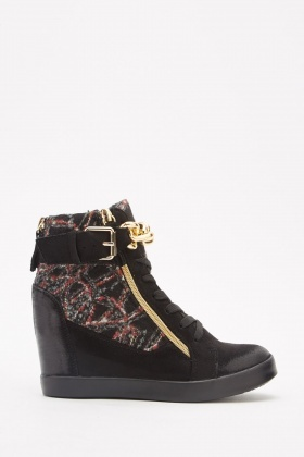Contrasted Chain Wedge Shoes