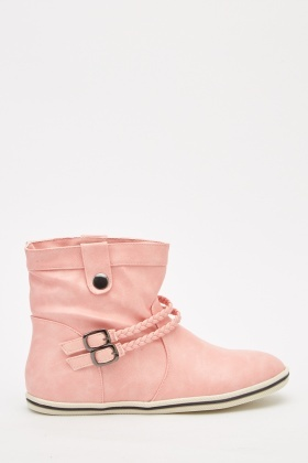 Double Buckle Strap Pixie Boots