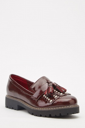 Hi-Shine Tassel Trim Loafers