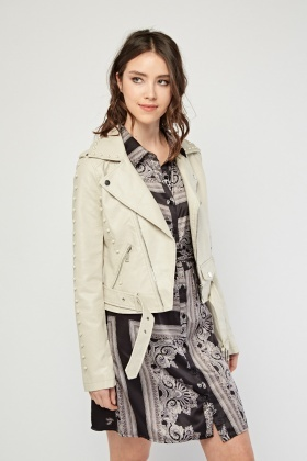 Light Grey Encrusted Biker Jacket