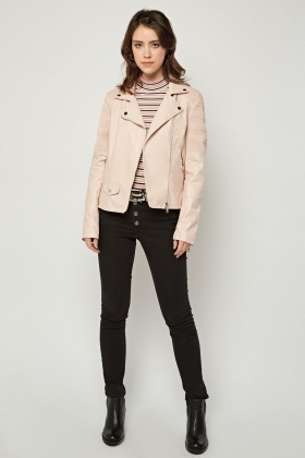Light Pink Shirred Biker Jacket