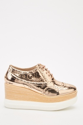 Metallic Laser Cut Wedge Brogues