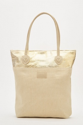 Metallic Panel Tote Bag