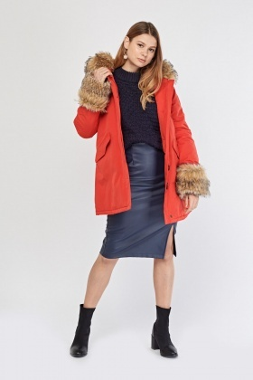 Red Faux Fur Parka Jacket
