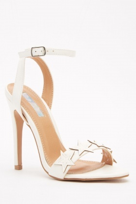 Star Faux Leather Ankle Strap Sandals
