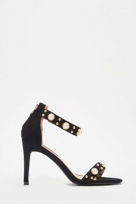 Studded Faux Pearl Suedette Heels