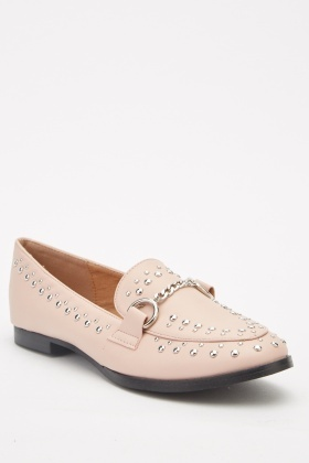 Studded Pointy Loafers
