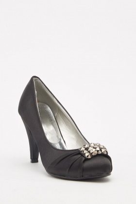 Studded Ruched Sateen Heels