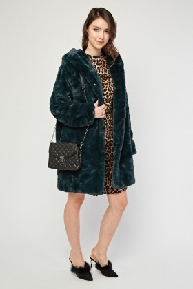 Teal Faux Fur Hooded Coat
