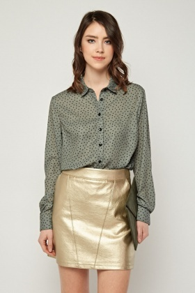 All Over Printed Button Up Blouse