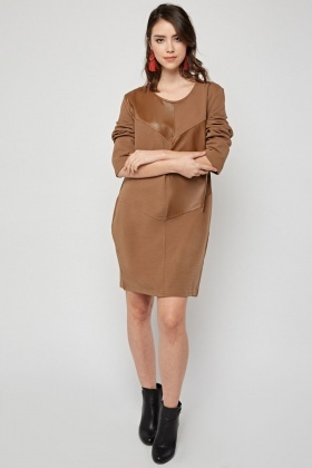 Contrasted Faux Leather Mini Dress