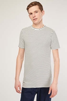 Crew Neck Textured Stripe T-Shirt