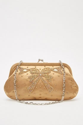 Embellished Bow Clutch Bag