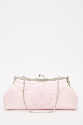Embroidered Sateen Clutch Bag