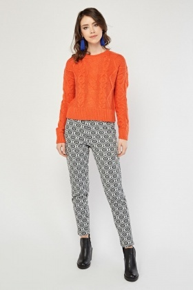 Illusion Patterned Skinny Fit Trousers