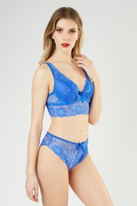 Lace Overlay Soft Cup Bralette And Brief Set