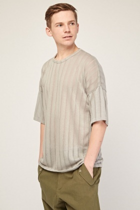 Laddered Contrast Loose Knit Top