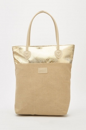 Metallic Textured Contrasted Handbag