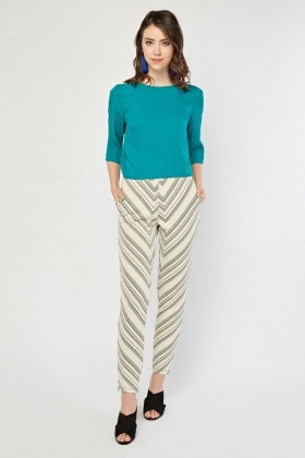 Mixed Patterned Skinny Trousers