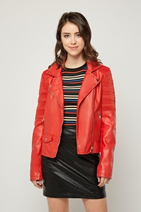 Shirred Panel Biker Jacket