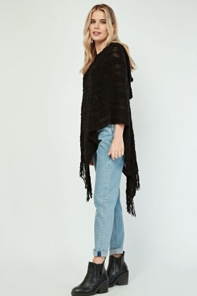 Embroidered Knit Patterned Hooded Poncho