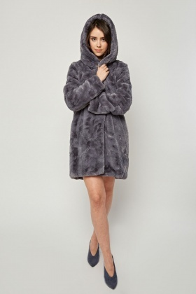 Grey Faux Fur Hooded Coat