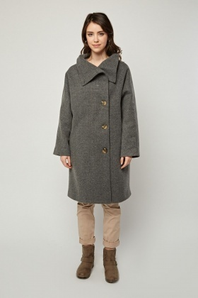 Grey Woven Oversized Coat