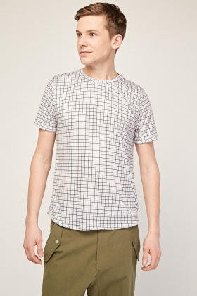 Grid Print Casual T-Shirt