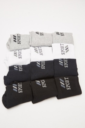 Pack Of 12 Mens Sport Printed Socks