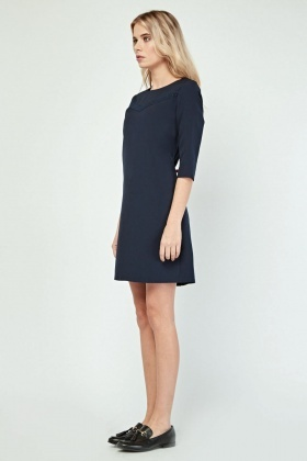 Round Neck Mini Shift Dress