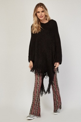 Textured Knitted Fringed Hooded Poncho
