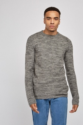 Textured Speckled Knitted Jumper