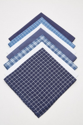 7 Pack Of Checkered Handkerchiefs
